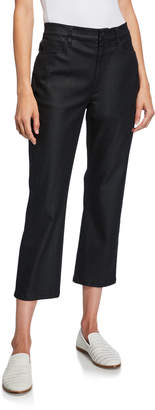 Eileen Fisher Coated Stretch-Denim Cropped Flare Jeans