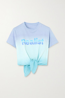 Paco Rabanne Peter Saville Tie-front Printed Degrade Cotton-jersey T-shirt - Purple