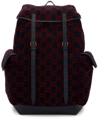 Gucci Navy Wool GG Backpack