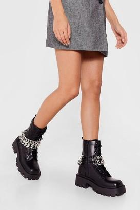 Nasty Gal Womens Chain-ge Tactics Chunky Cleated Biker Boots - Black