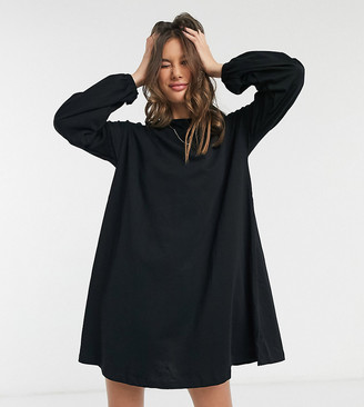 Asos Tall ASOS DESIGN Tall swing mini dress with drop shoulder balloon sleeve in black