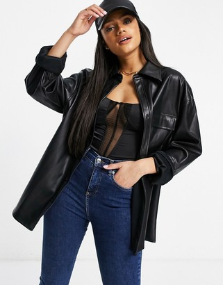 Sixth June oversized shirt in black faux leather