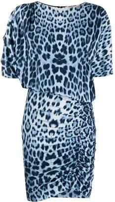Roberto Cavalli draped leopard mini dress