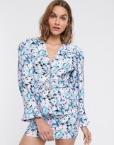 Asos Design DESIGN floral print exaggerated sleeve suit blazer with jazzy button