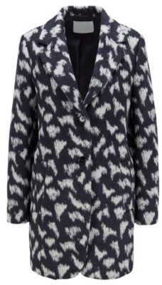 HUGO BOSS Relaxed Fit Coat In Pony Print Textured Fabric - Patterned