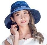 Siggi Womens Bucket Boonie Sun Hat Summer Cap Packable Wide Brim UV SPF 50 Navy