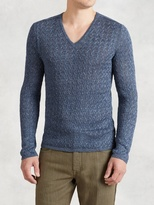 John Varvatos Linen Cable V-Neck