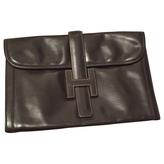 Hermes Brown Patent leather Clutch bag Jige