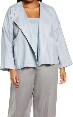 Eileen Fisher Organic Linen Drape Front Jacket