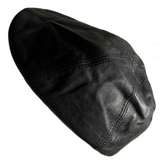 Neil Barrett Black Leather Hats & pull on hats