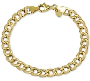 Argentovivo Open Curb Link Bracelet in Gold-Plate Over Sterling Silver