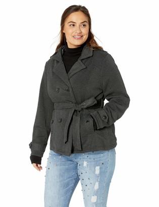 Yoki Women's Plus Size Double Breast Fleece Jacket Outerwear