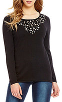 "Reba ""Holiday Gems"" Scoop Neck Stone Embellished Sweater"
