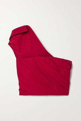 Alexander Wang One-shoulder Draped Coated-poplin Top - Red