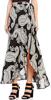 Living Doll Paisley-Printed High-Low Wrap Skirt