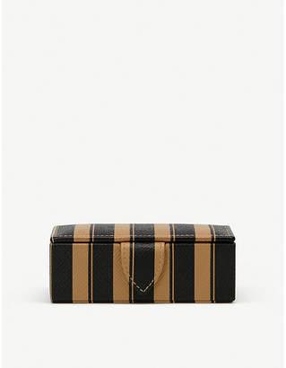 Smythson Panama leather cufflinks box 3.5cm x 10.5cm