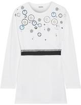 Miu Miu Embellished Cotton-jersey Top - White