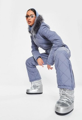Missguided Gray Msgd Ski Quilted Corset Snow Suit
