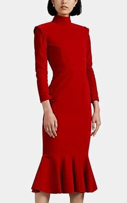 Maison di Prima Women's Velvet Flounce-Hem Dress - Red