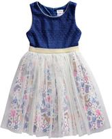 Sweet Heart Rose Blue & White Mesh Fit & Flare Dress - Toddler