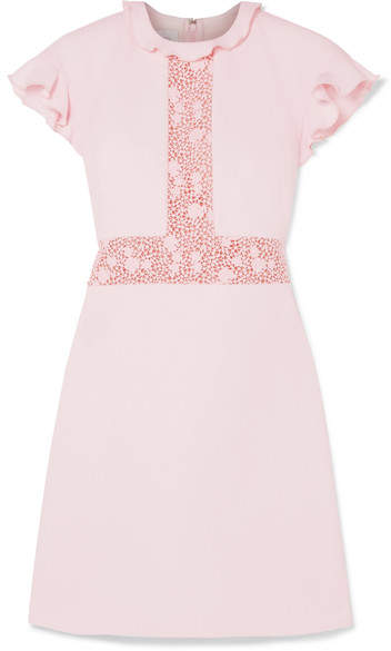 Giambattista Valli Ruffled Lace-paneled Crepe Mini Dress - Pink