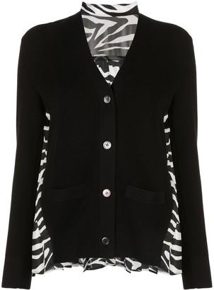 Sacai contrast-panel V-neck cardigan