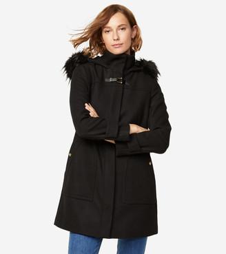 Cole Haan Wool Twill Hooded Duffle Coat