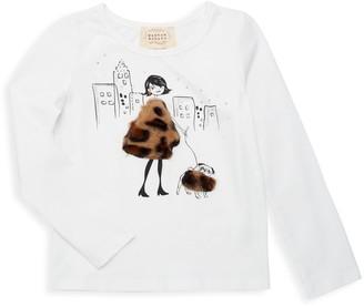 Hannah Banana Little Girl's Faux Fur-Trim Graphic Stretch Tee