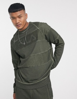 Fila Neptune striped reverse loopback raglan sweatshirt in khaki