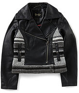 Jessica Simpson Big Girls 7-16 Mix-Media Faux-Leather Motorcycle Jacket