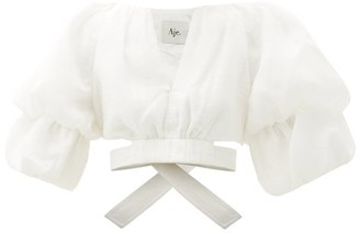 Aje Impression Puff-sleeve Linen-blend Cropped Top - White