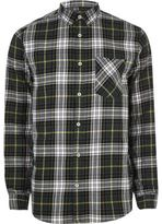 River Island MensGreen and white casual check shirt