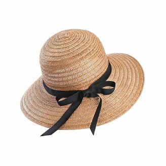Eight Space Women's Summer Sun Beach Straw Hat Floppy Foldable Airable Straw Beach Hats