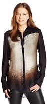 Halston Women's Long Sleeve Printed Blouse