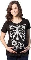 Crazy Dog T-shirts Crazy Dog Tshirts Maternity White Skeleton Rib Cage Halloween Pregancy Tee -S