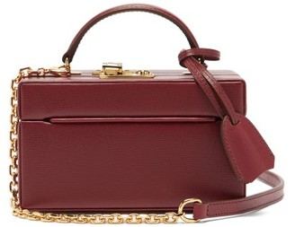 Mark Cross 1845 Mini Saffiano-leather Box Bag - Burgundy