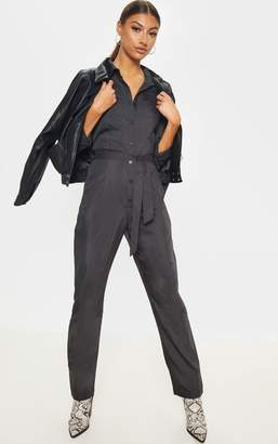 PrettyLittleThing Tall Fawn Square Pocket Long Sleeve Utility Jumpsuit