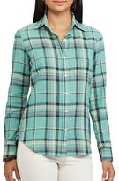 Chaps Petite Plaid Cotton Twill Shirt