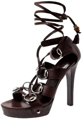 Gucci Brown Leather Ebony Platform Ankle Wrap Sandals Size 36.5