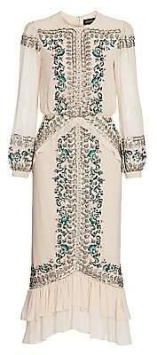 Saloni Women's Isa Bead & Embroidery Silk Blouson Midi Dress