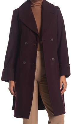 Nine West Belted Double Breasted Wool Blend Coat