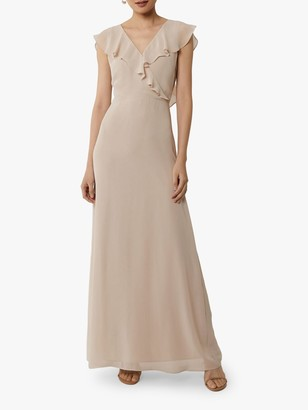 Warehouse Frill Wrap Bridesmaid Dress, Mink