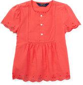Ralph Lauren Short-Sleeve Cotton Batiste Top, Orange, Size 5-6X