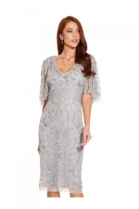 Adrianna Papell Beaded Cape Sleeve Dress In Silvermist