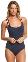 Tommy Hilfiger Signature Stripe Cross Back One Piece Swimsuit 8154032