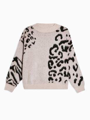 Topshop Spliced Animal Jumper - Nude