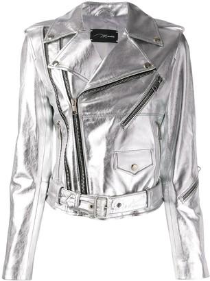 Manokhi classic metallic biker jacket