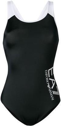 Ea7 Emporio Armani Logo Print One Piece Swimsuit