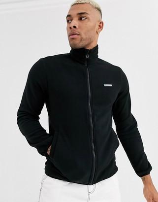 Jack and Jones Originals polar fleece sweat jacket in black