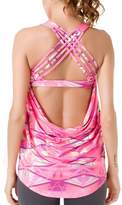 Queenie Ke Womens Sport 2 In 1 Tank Top Criss-Cross Straps Wild Tank Size S Color Pink Print
